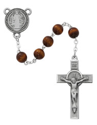 7mm Brown Beads Rosary with pewter Crucifix and St Benedict Center. Rosary presents in a deluxe gift box.  Made in the USA.