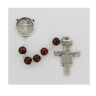 Brown Beads Rosary with pewter San Damiano Crucifix and St Francis Center. Rosary presents in a deluxe gift box.  Made in the USA.
