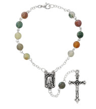 6mm India Agate Beads Auto Rosary with Silver Oxidized Center and Crucifix