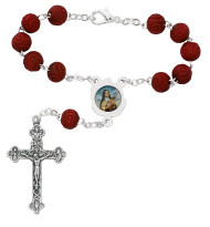 St Therese Auto Rosary with Silver Oxidized Center and Crucifix