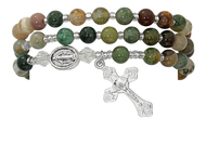 6mm India agate beads make up this full stretch rosary bracelet. The bracelet when off the wrist is a full rosary to pray on.