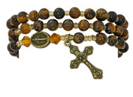 6mm Tiger Eye beads make up this full stretch rosary bracelet. The bracelet when off the wrist is a full rosary to pray on.