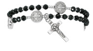 4mm black crystal beads with silver seed beads make up this full rosary bracelet. The bracelet when off the wrist is a full rosary to pray on. Comes carded. Made in the USA