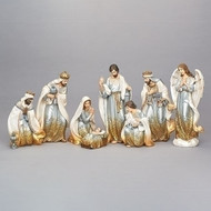 """14""""H 8 piece set including Baby Jesus. No stable. Nativity is in a gold hombre finish. Nativity is made of resin. Measurements are: 14""""H X 27W""""H"""