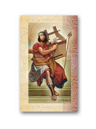 This pamphlet is a 2 page biography.  The pamphlet includes the name meaning, the patron attributes, Prayers and Feast Day are all included in the pamphlet. Gold stamped Italian art.