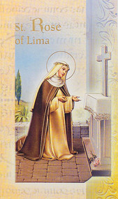 This pamphlet is a 2 page biography.  The pamphlet includes the name meaning, the patron attributes, Prayers and Feast Day are all included in the pamphlet. Gold stamped Italian art