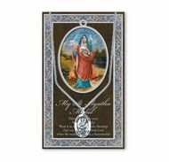 """St. Agatha 1.125"""" Genuine Pewter Saint Medal with Stainless Steel Chain. Silver Embossed Pamphlet with Patron Saint Information and Prayer Included.   (3.25""""x 5.5"""")"""