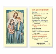 Jesus and the older children on Front of Card. Laminated Holy Card with the Act of Contrition on Back of Card