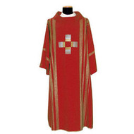 Dalmatic 860 ~ Buy 4 and get the 5th for FREE!! ...any color  combination! Dalmatic in Linea Style Fabric Embroidered in Gold & Silk Threads. Available in all Liturgical Colors including White, Green, Red, Rose & Purple. Also available: Matching  Overlay Stole, Chasuble with Matching Stole,and Mitre (not pictured). These items are imported from Europe. Please supply your Intitution's Federal ID # as to avoid an import tax. Please allow 3-4 weeks for delivery if item is not in stock