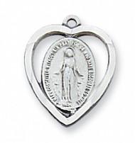 Miraculous Medal Heart Pendant 426