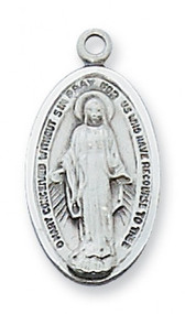 "3/4"" Sterling Silver Miraculous Medal. Medal comes on an 18"" rhodium plated chain. A deluxe gift box is included."