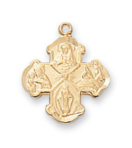 "Gold over Sterling Silver 1/2"" 4-Way Medal. 16"" Rhodium Plated Chain. Deluxe Gift Box Included"
