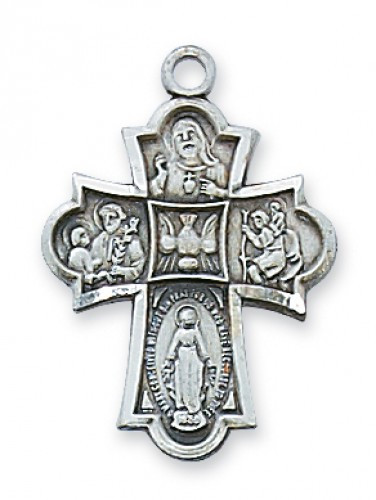 "Sterling Silver 1"" 4-Way Medal. 18"" Rhodium Plated Chain. Deluxe Gift Box Included"