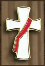 "Deacon's Cross. 1"" inch lapel pin. Hand enameled colors. Gift boxed"