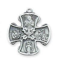 "Sterling Silver Holy Spirit 3/4"" 4-Way Medal. 18"" Rhodium Plated Chain. Deluxe Gift Box Included"
