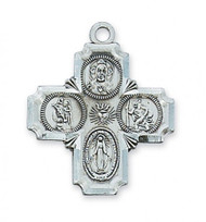 "Sterling Silver  7/8""L 4-Way Medal. Medal comes on a 20"" rhodium plated chain and includes deluxe gift box included"