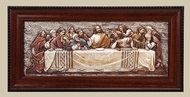 "7""H Framed Last Supper Plaque.  Made of a medium density fiberboard. Dimensions: 7""H 14.38""W 0.75""D. Resin/Stone Mix."