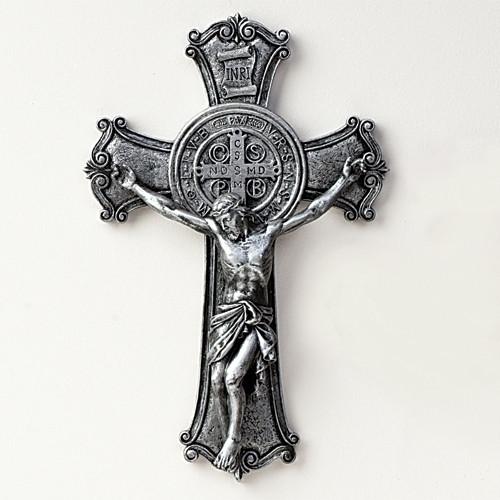 "10.25"" Silver tone Benedict Wall Crucifix. Resin/Stone Mix. 10.25""H x 6.75""W x 1.5""D"