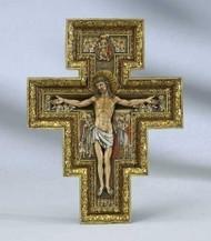 "San Damiano Cross in Three Sizes. Resin/Stone Mix Actual Measurements: 18"" (40702)  ~ [17.75""H x 13.25""W x 1.5""D] 11""(40784)  ~ [10.75""H x 8.125""W x 1""D] 6"" (40701) ~ [6""H x 4.5""W x 0.38""D]"