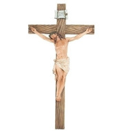 "Resin/Stone Mix Wall Crucifix in Three Sizes:  8""  ~ (8.125""H x 4.25""W x 1""D); or   13"" ~ (13.25""H x 7.5""W x 1.5""D)  or 20.5'H ~  (20.5""H 11""W 2.25""D)"