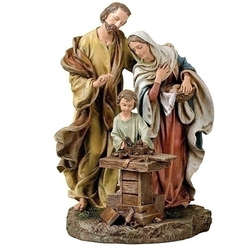 """Holy Family in Carpenter Shop. Dimensions:  9.5""""H x 7""""W x 6.5""""D. Resin/Stone Mix"""