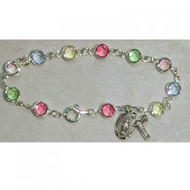 Deluxe Adult Multi Crystal Bracelet with Sterling Silver Wire