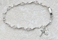 "6 1/2"" Rhodium Plated Heart Bracelet. Bracelet has a  Crucifix and Cut Out Miraculous Medal charm. Bracelet has Cubic Zirconia Accent Stones"