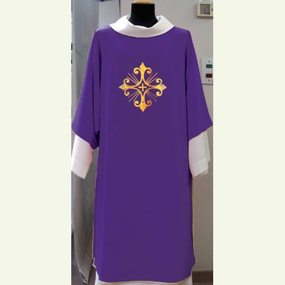 Primavera Fabric (100% Polyester) with embroidery on the front and back, with inside stole. Matching Chasuble, Priest and Deacon Stole Available. Colors are Purple, Red, Rose, White and Green. These items are imported from Europe. Please supply your Intitution's Federal ID # as to avoid an import tax. Please allow 3-4 weeks for delivery if item is not in stock