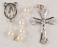 6 Millimeter Pearl Rosary Rhodium Crucifix and Center(Blessed Mother)  Enameled Crucifix  Deluxe Gift Box Included  Prices are subject to change without notice