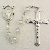 7 Millimeter White Pearl Rosary. Rhodium Crucifix and Miraculous Cut-Out Medal Center. Deluxe Gift Box Included.