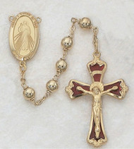 Rosary - Gold Beads with Divine Mercy Centerpiece with Red Enameled Crucifix