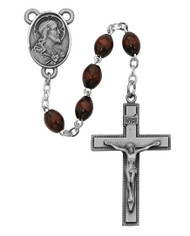 4 x 6 Millimeter Brown Wood Rosary. Pewter Crucifix and Sacred Heart of Jesus Center. Deluxe Gift Box Included