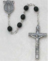 Black Glass Rosary. 7mm beads Sterling Silver or 6mm beads Pewter Miraculous Medal Center & Crucifix. Deluxe Gift Box Included