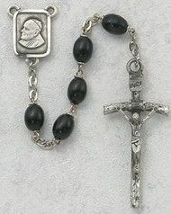 4 x 6 Millimeter Black Wood Papal Rosary. Pewter Crucifix and Center. Deluxe Gift Box Included. Prices are subject to change without notice