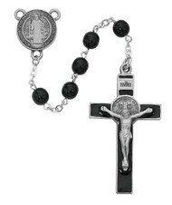 Beautiful Men's 7 Millimeter Black glass beads Saint Benedict Rosary. Pewter Crucifix and Center. Deluxe Gift Box Included