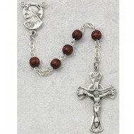 Sterling Silver 5 mm Brown Wood Rosary