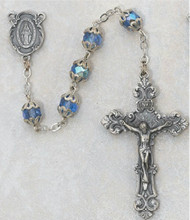 7 Millimeter Blue Capped Rosary Silver Oxidised Miraculous Medal Center and Crucifix  Deluxe Gift Box Included  Prices are subject to change without notice