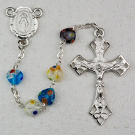 8 x 8 Millimeter Multi-Color Murano Heart Rosary. Rhodium Crucifix and Miraculous Medal Center. Deluxe Gift Box Included.