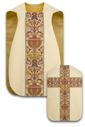 """Roman chasuble in the traditional """"fiddle-back"""" style. Made in Dupion fabric, knotted yard dyed fabric. Adorned with orphreys in Regina, a multicolored brocade. Available in white, beige, red, dark red,  dark green and purple.   These items are imported from Europe. Please supply your Institution's Federal ID # as to avoid an import tax.  Please allow 3-4 weeks for delivery if item is not in stock."""