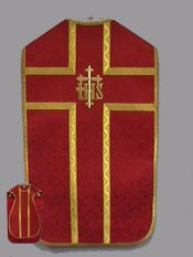 """Roman chasuble in the traditional """"fiddle-back"""" style with an """"IHS"""" embroidered in gold on the back. The price includes the chasuble stole, maniple, burse and chalice veil. These items are imported from Europe. Please supply your Institution's Federal ID # as to avoid an import tax.  Please allow 3-4 weeks for delivery if item is not in stock."""