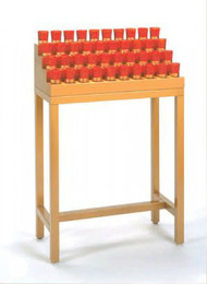 Pyramid type  votive stand. Available in two sizes.  Glasses not included. Available in 9 Finishes. Devotional votive stands can be designed and engineered to fit any area in your church.