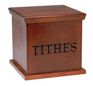 "1163 Tithe Box w/lettering and locking door on the back side. 16""w x 16""d, 11""h"