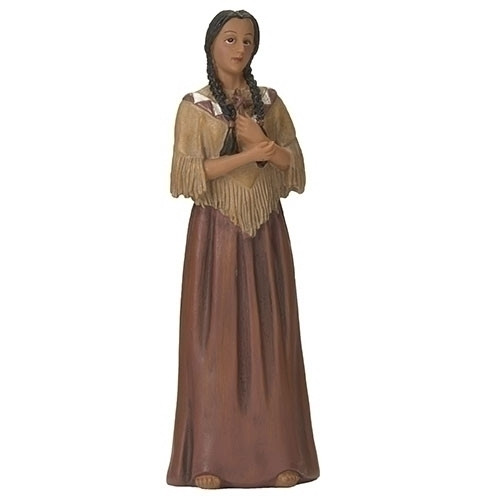 """St. Kateri Tekakwitha 4"""" Statue and Prayer Card Box Set. Resin-stone Mix. Feast Day July 14th ~ St. Kateri Tekakwitha is the first Native American to be declared a Saint."""