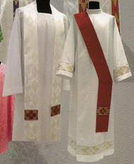 Deacon Stole and Overlay Stole 419- Deacon stole or overlay stole in Damask fabric (100% polyester). Color choices: Green, Purple, Red, Rose and White. These items are imported from Europe. Please supply your Institution's Federal ID # as to avoid an import tax. Please allow 3-4 weeks for delivery if item is not in stock.