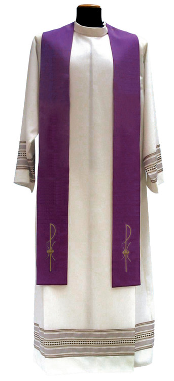 Overlay Stole: Special! Buy 4 and get 5th FREE~any color combination. Primavera Fabric, 100% Polyester, embroidered with gold  threads. Available in: Red, Green, Purple, White and Rose. Also Available: Matching Chasuble, Dalmatic, Deacon Stole and Cope.  These items are imported from Europe. Please supply your Institution's Federal ID # as to avoid an import tax. Please allow 3-4 weeks for delivery if item is not in stock