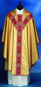 Lame' Oro Material. 40% Polyester, 35% Wool, 25% Gold Thread.. Banding on the Front and Back. Also Available: Matching Stole, Dalmatic, Deacon Stole, Cope, Humeral Veil and Mitre. These items are imported from Europe. Please supply your Institution's Federal ID # as to avoid an import tax.  Please allow 3-4 weeks for delivery if item is not in stock