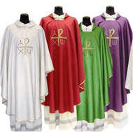 "Chasuble 316 is available in 62.5"" or  51"" lengths. Square Collar in Assisi Fabric. 90% Polyester, 10% Gold Thread. Front and Back Embroidery with Inside Stole. Matching Overlay Stole, Cope, Humeral Veil, Dalmatic and Deacon Stole are available. Colors: White, Red, Green, Purple and Rose. These items are imported from Europe. Please supply your Institution's Federal ID # as to avoid an import tax. Please allow 3-4 weeks for delivery if item is not in stock"