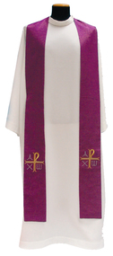 "Overlay stole mesures 5"" x 55""  and is made of Assisi Fabric: 90% Polyester, 10% Gold Thread. Matching Chasuble, Cope, Humeral Veil, Dalmatic and Deacon Stole. Colors:  White, Red, Green, Purple and Rose.  These items are imported from Europe. Please supply your Intitution's Federal ID # as to avoid an import tax.  Please allow 3-4 weeks for delivery if item is not in stock"