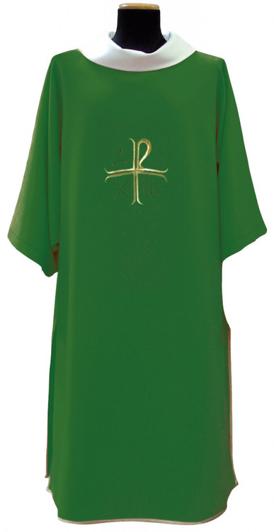 """Assisi Fabric (90% Polyester, 10% Gold Thread). Measurements: 60"""" x 47"""" Plain Neckline. Beautifully raised multicolor Swiss embroidery. Lined and interlined texturized fortrel polyester. Color choices: White, Red, Green, Purple, Blue and Rose. Matching Deacon Stole, Chasuble, Cope, Humeral Veil, & Stole available. These items are imported from Europe. Please supply your Institution's Federal ID # as to avoid an import tax. Please allow 3-4 weeks for delivery if item is not in stock"""