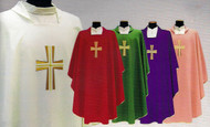 Square Collar with Inside Stole. Primavera (100% Polyester). Embroidery on the Front Only. Available in White, Red, Green and Purple. Also Available: Pure Italian Silk Chasuble, Overlay Stole, Dalmatic and Deacon Stole. Pure Italian Silk Option (SOL652CH/PS).These items are imported from Europe. Please supply your Institution's Federal ID # as to avoid an import tax. Please allow 3-4 weeks for delivery if item is not in stock